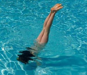 handstand in pool