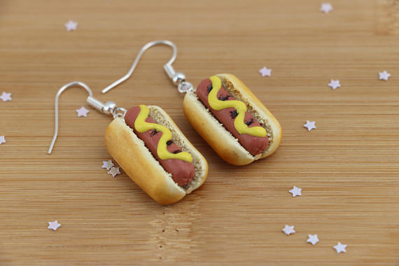 hotdog earrings