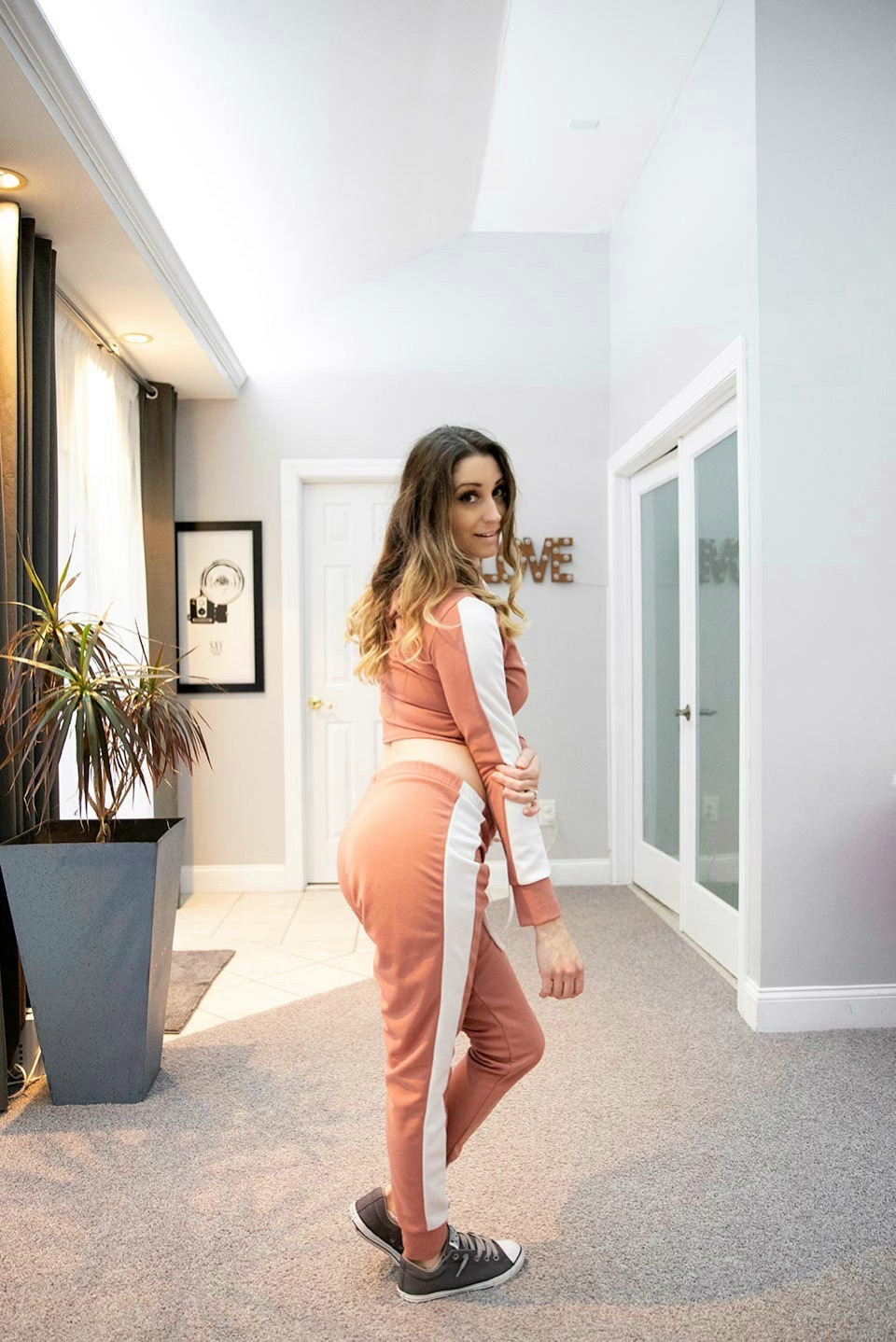 Dusky Pink With White Stripe Lounge Wear Set_Lexi3