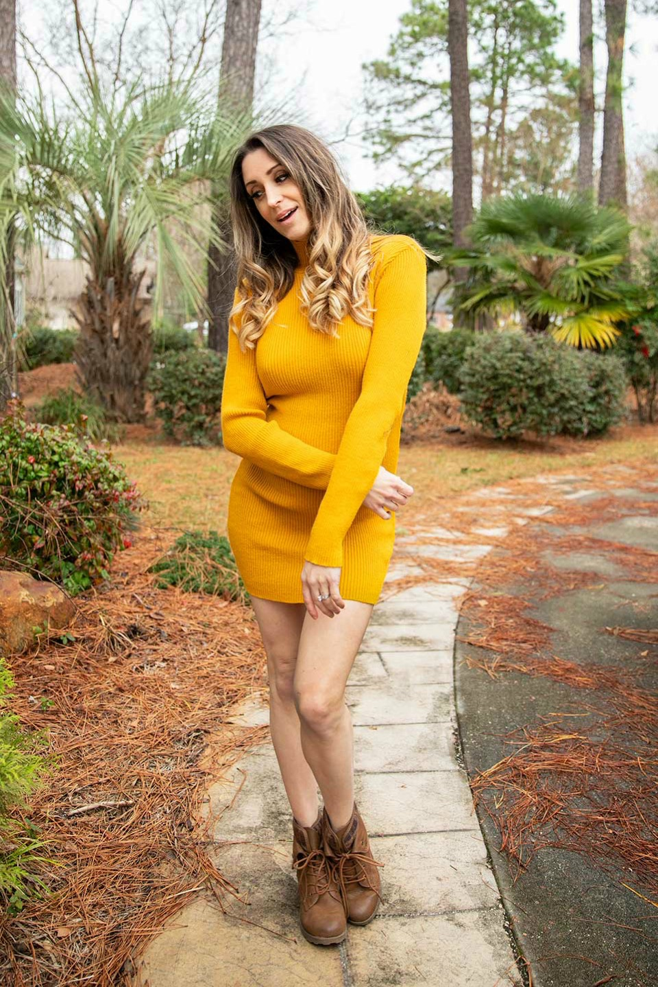 Mustard High Neck Bodycon Jumper Dress - Esmelia3