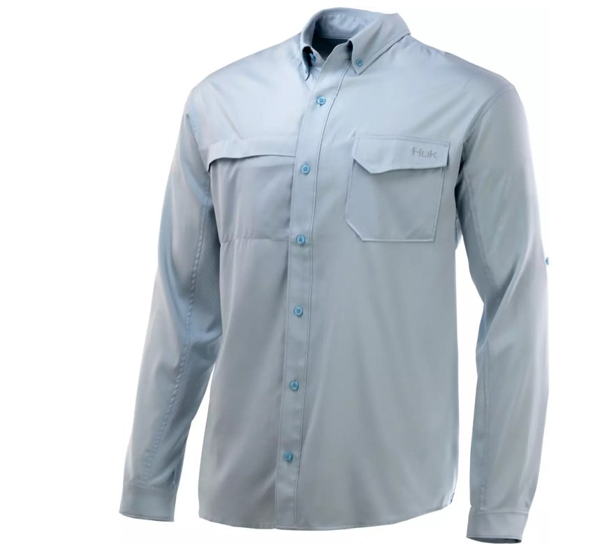 Huk Men's Tide Point Woven Solid Long Sleeve Button Down Shirt_gift